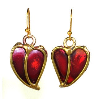 Handmade Red Heart Copper and Brass Earrings (South Africa)