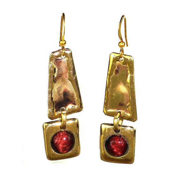 Handmade Red Tiger Eye Brass Earrings(South Africa)