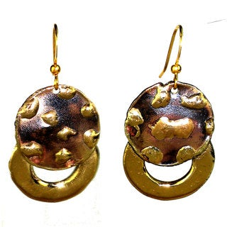 Handcrafted Make Your Mark Twice Brass Dangle Earrings (South Africa)