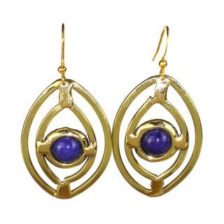 Handmade Purple Jade Ellipse Brass Earrings (South Africa)
