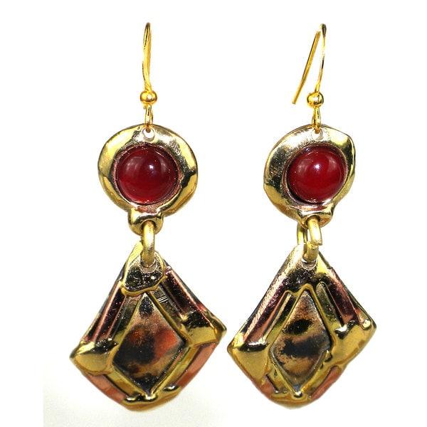 Handmade Carnelian Diamond Brass Earrings (South Africa)