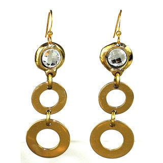 Handmade Crystal and Loops Brass Earrings (South Africa) - Gold