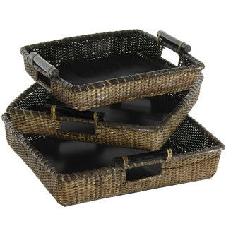 Handmade Set of Three Rattan Square Tote with Pole Handles Set (China)