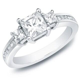 Auriya 1 1/2ct TDW Princess-Cut 3-Stone Diamond Engagement Ring 14k Gold Certified