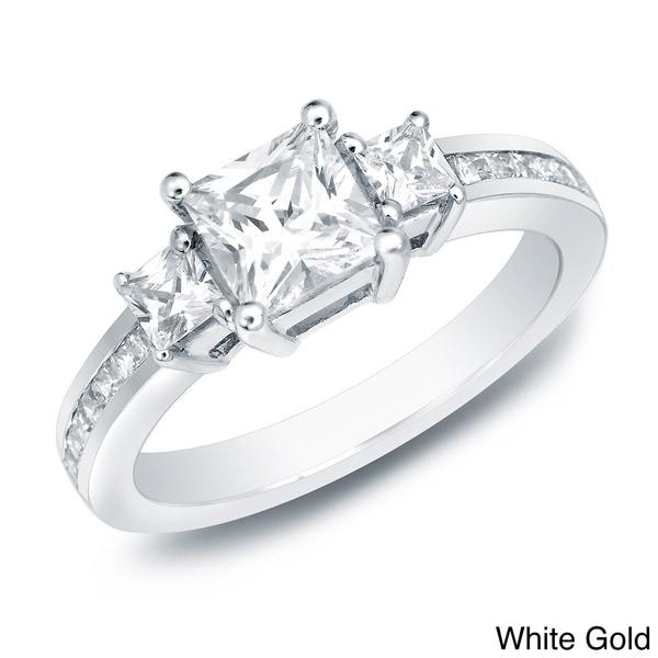 Auriya 14k Gold 1 1/2ct TDW Certified Diamond Engagement Ring