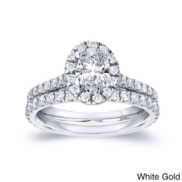 auriya 14k gold 1ct tdw certified oval diamond halo engagement ring set - Halo Wedding Ring Set