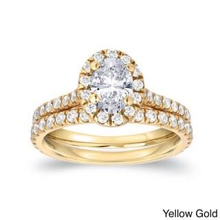 Auriya 14k Gold 1ct TDW Certified Oval Diamond Halo Bridal Ring Set (H-I, SI1-SI2)