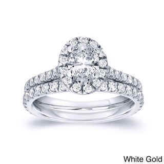 Auriya 14k Gold 1ct TDW Certified Oval Diamond Halo Bridal Ring Set (H-I, SI1-SI2)