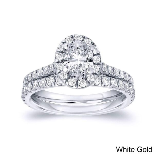 Auriya 14k Gold 1ct TDW Certified Oval-Cut Diamond Halo Engagement Ring Bridal Ring Set