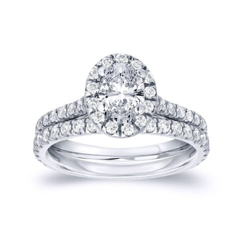 Auriya 14k Gold 1 carat TDW Certified Oval Halo Diamond Engagement Ring Set