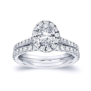 Auriya 14k Gold 1ct TDW Oval Diamond Halo Bridal Ring Set (H-I, SI1-SI2)