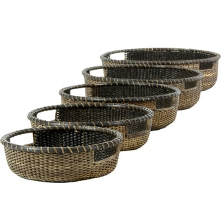 Handmade Set of Four Antique Finish Rattan Low Basket Tray Set (China)