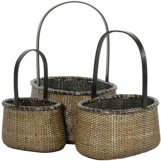 Handmade Rattan Round Handle Basket Set (China)