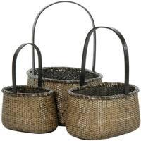 Handmade Rattan Round Handle Basket Set (China)