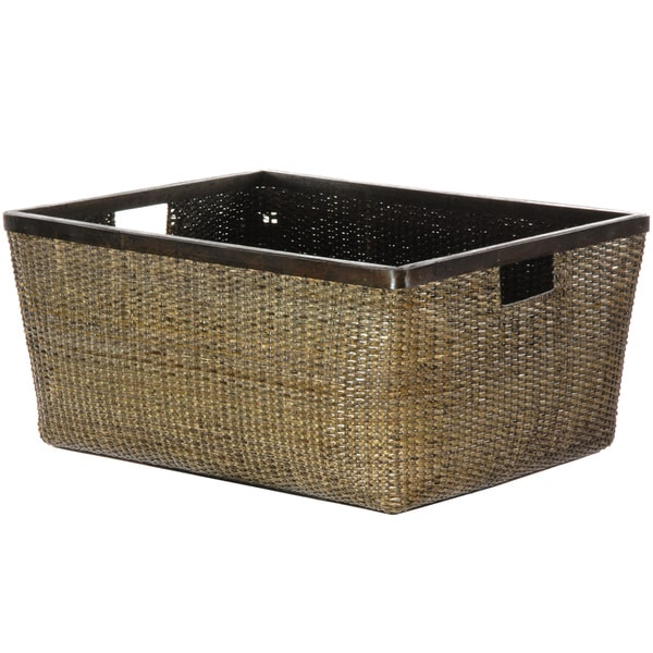Antique Finish Rattan Storage Tote (China)