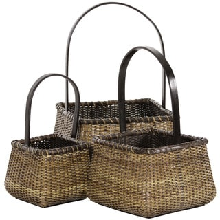 Handmade Rattan Square Handle Basket Set (China)