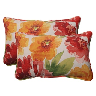 Pillow Perfect Orange Outdoor Primro Corded Rectangular Throw Pillow (Set of 2)