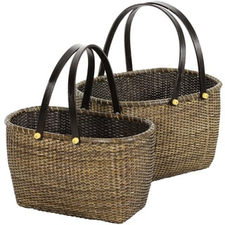 Handmade Set of Two Rattan Open Storage Basket with Handles Set (China)