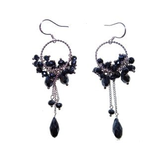 Handmade Sterling Silver Dark Blue Faceted Crystal Earrings (China)