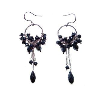 Handmade Sterling Silver Dark Blue Faceted Crystal Earrings (China)