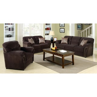 Furniture of America Gapuzzi 3-Piece Chocolate Nailhead Plush Fabric Sofa Set