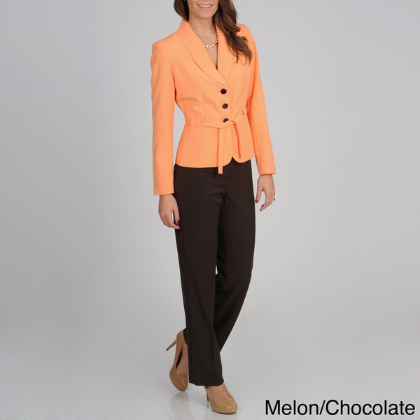 Atelier Women's Two-tone Belted Pant Suit