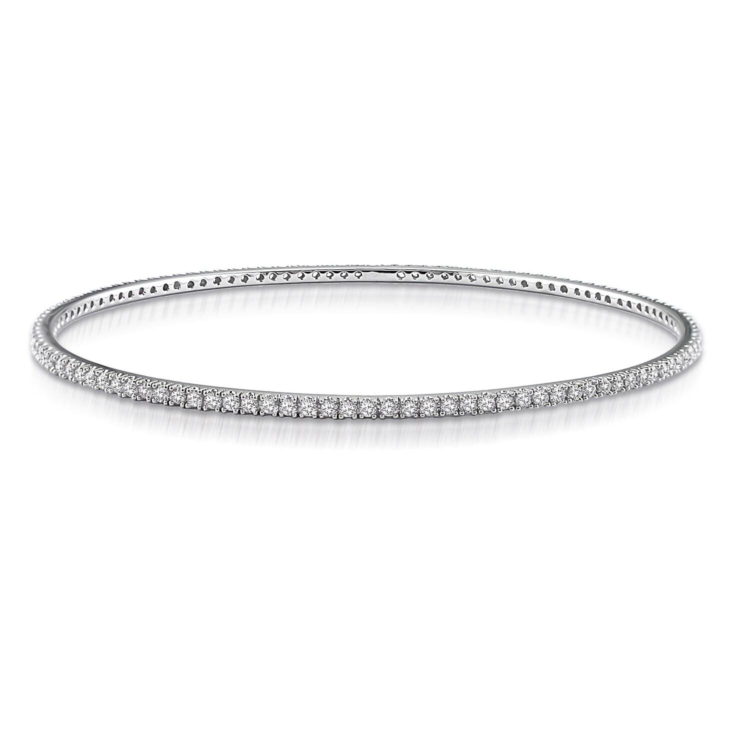 Women/'s Bangle Diamond Bracelet in 14k White Gold Finish 2.5 Carats