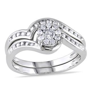 Miadora 10k White Gold 1 2ct TDW Diamond Bridal Ring Set