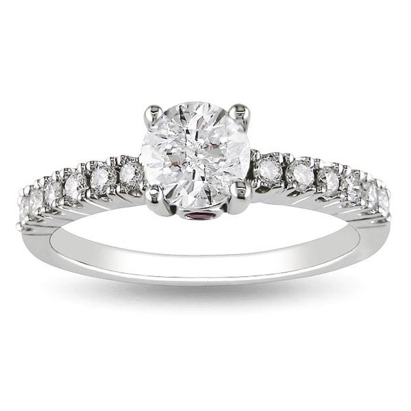 L'Amour Enrose by Miadora 14k White Gold 1ct TDW Diamond Engagement Ring (H-I, I2-I3)