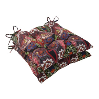 Pillow Perfect Outdoor Marapi Black Tufted Seat Cushions (Set of 2)