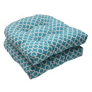 Pillow Perfect Outdoor Hockley Wicker Teal Seat Cushions (Set of 2)
