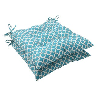 Pillow Perfect Outdoor Hockley Tufted Teal Seat Cushions (Set of 2)