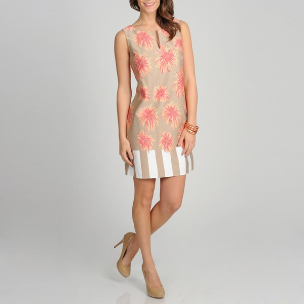 Women's Tan Floral Printed Sleeveless Sundress