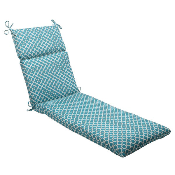 Pillow Perfect Outdoor Hockley Teal Chaise Lounge Cushion