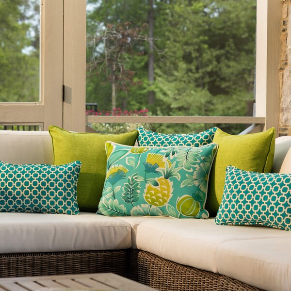 Shop Pillow Perfect Outdoor Hockley Teal Throw Pillows