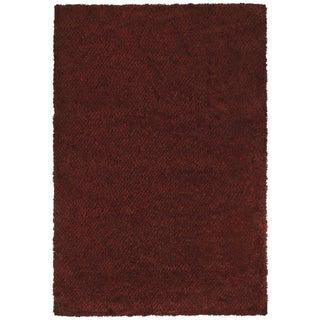 Indoor Red/Brown Shag Area Rug - 9'10 x 12'7