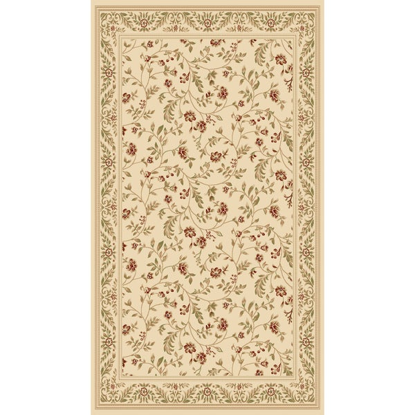 Woven Traditional Cream Floral Rug (4' x 5'3)