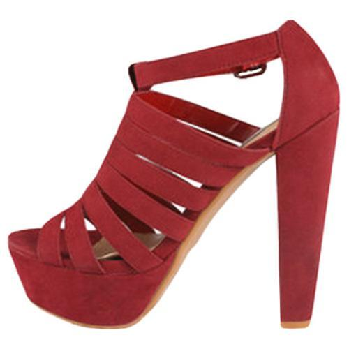 Women's Wild Diva Daisy-01 Red Faux Suede - Thumbnail 2