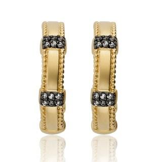 Riccova 14k Goldplated Cubic Zirconia Half-hoop Earrings