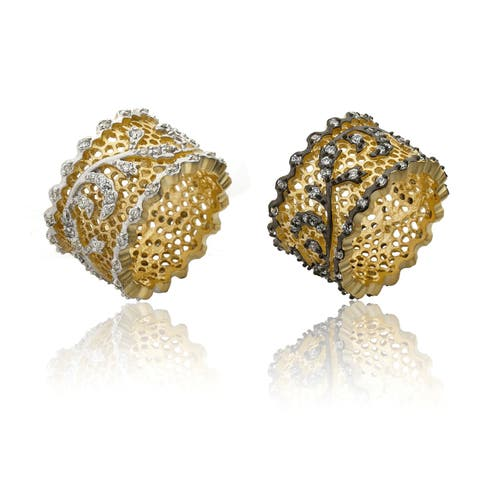 Riccova Goldplated Cubic Zirconia Vine Detail Lace Ring