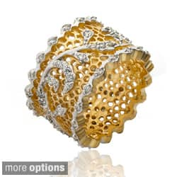 Riccova Goldplated Cubic Zirconia Vine Detail Lace Ring|https://ak1.ostkcdn.com/images/products/7819481/Riccova-14k-Goldplated-Cubic-Zirconia-Vine-Detail-Lace-Ring-P15210203.jpg?impolicy=medium