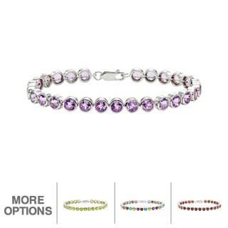 Gioelli Sterling Silver Gemstone Bezel Link Bracelet