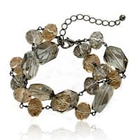 Riccova Black-plated Champagne and Bronze Crystal Bead 2-strand Bracelet