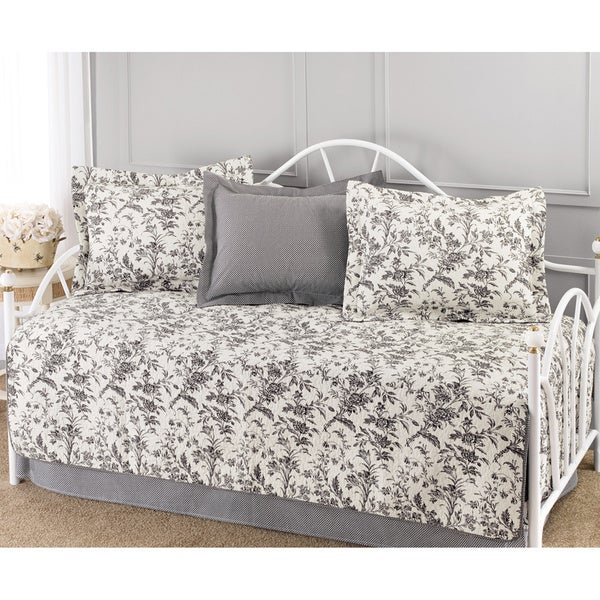 Laura Ashley Amberley Black and White Floral 5-piece Quilted Daybed Set