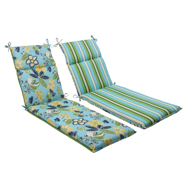 Pillow perfect blue outdoor calypso tropez reversible for Blue chaise lounge cushions