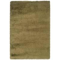 Indoor Green/ Gold Shag Area Rug - 9'10 x 12'7