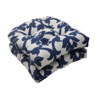 Pillow Perfect Bosco Polyester Navy Tufted Outdoor Wicker Seat Cushions (Set of 2)