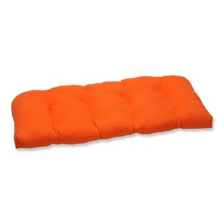 Pillow Perfect Orange Outdoor Loveseat Cushion