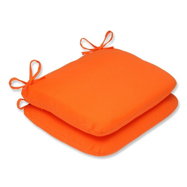 Pillow perfect orange outdoor seat cushions set of 2 free shipping today - Orange kitchen chair cushions ...