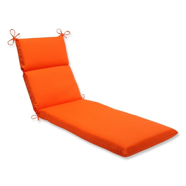 pillow perfect outdoor sundeck chaise lounge cushion in orange free shipping today overstock. Black Bedroom Furniture Sets. Home Design Ideas